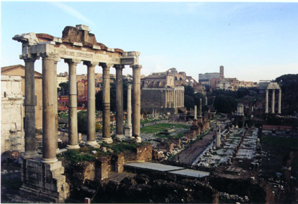 Temple of Saturn with Forum in Background