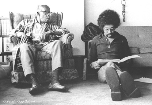 Oggi Ogburn reading to the then blind Chancellor Williams